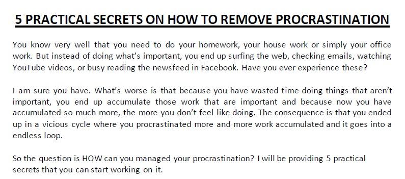 Procrastination Report